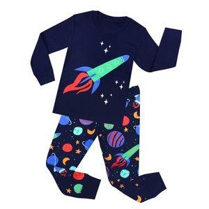 Bright colorful pajamas boy size 7
